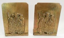 3 Chinese Gods Wisemen Fu Lu Shou Fuk Luk Sau Heavy Brass Raised Relief Bookends
