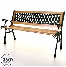 Outdoor Wooden 3 Seater Cross Lattice Garden Bench Park Seat with Cast Iron Legs
