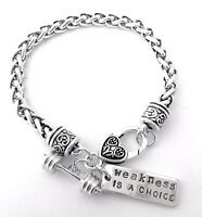 CrossFit Training Weight Lifting Fitness Dumbell Barbell Silver Charm Bracelet