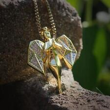 Hip Hop Gold Angel Pendant With 22 Inch Box Chain
