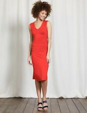 BODEN New Cosima Ruched Side Jersey Dress - Red - UK 18 R