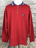 Tommy Hilfiger Men's Vintage 90's Flag LOGO Pullover Sweatshirt Red Size XXL