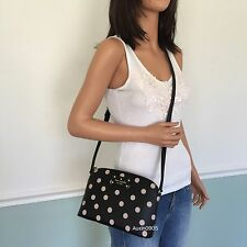 NEW! KATE SPADE Black Beige Dot PVC Leather Small Shoulder Crossbody Bag Purse