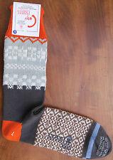 Corgi Mens Cotton Socks Size Large Fairisle Grey Orange Made Wales Medium Thick