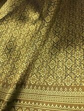 Old Gold Thai Silk Damask Vintage Fabric BTY Wedding Dress Skirt Costume
