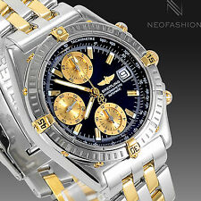 BREITLING CHRONOMAT 2 TONE 18K GOLD/SS BEAUTIFUL BLACK DIAL MENS WATCH  B13352