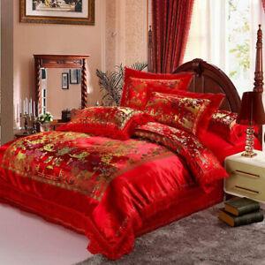 Satin dragon phoenix Chengxiang Chinese red bedding printed jacquard 4pcs / 2pcs