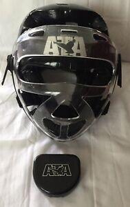 ATA Macho Martial Arts Taekwondo Yth Sm Head Gear & Face Shield Mouth Guard Case