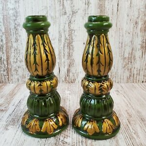 2 Vintage Japan Wooden Hand Painted Taper Candle Holders Green W/ Gold Design