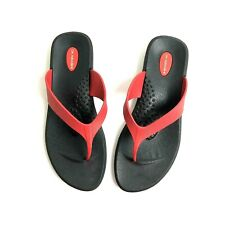 Okabashi Womens L 8/9 Red Thong Sandals T Strap Flip Flops Rubber Beach Shoes