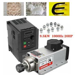 9.5KW Spindle Motor Air-cool 1000Hz 20HP VFD Inverter ER32 Collet 380V w/ Flange