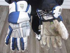 """Used WHITE, SILVER & BLUE REEBOK 9K Lacrosse Gloves~ Sr 11"""" - LAX"""