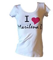 T-shirt Maglietta Elasticizzata Donna I Love MARILENA B.Bianca Manica Corta Tg S
