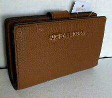 New Michael Kors Jet Set Travel MD Bifold Zip Coin wallet Pebble Leather Luggage