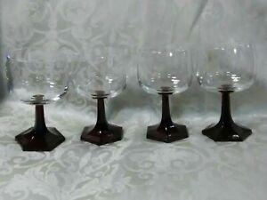 (4) Gorgeous Vtg.Ruby Red Hexagon Stem Coupe Art Deco Wine Glasses Set