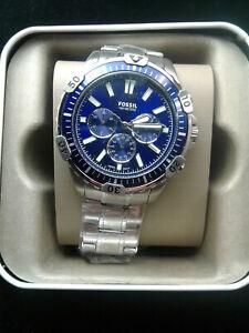 Garrett Chronograph Silver-Tone Stainless Steel Watch  Fossil Brand FS5623