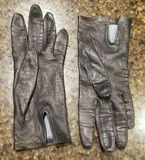 Grandoe Ladies Dark Navy Silk Faced Leather Gloves Size 6 Vintage Wpl9633 Italy