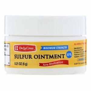De La Cruz, Sulfur Ointment, Acne Medication, Maximum Strength, 6 g Travel Size