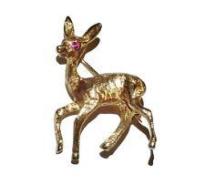Vintage 9ct Yellow Gold & Ruby Deer Brooch