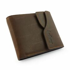 Da Uomo Vera Pelle Bifold Wallet Purse Business porta carte di credito Marrone Nuovo