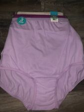 Vanity Fair ~ 3 Women's Brief Underwear Panties Pink Purple Beige Cotton ~ 8/XL