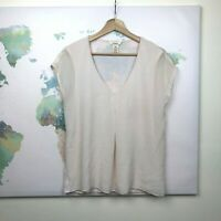 Sundance Catalog Silk Blouse Size Medium M Blush Pink Cap Sleeves V-Neck READ