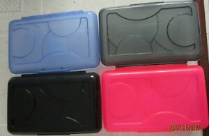 PLASTIC BOXES.. LOT OF 4.. COLORS MAY VARY..IDEAL FOR SCHOOL SUPPLIES