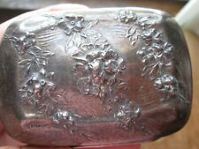 Antique ORNATE -  STERLING - REPOUSSE Decorated - SOAP BOX w/ Old Patina