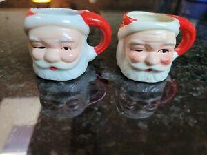 Vintage Santa Winking Mini Mugs