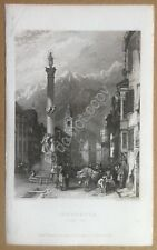 Incisione - rifilatura - Innsbruck - fine '800 - engraved by W.R. Smith