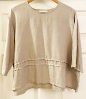 Bryn Walker Womens Creamy 100% Linen Boxy Pintuck Pleat Shirt Top size M Medium