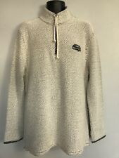Weird Fish Crusier 1/4 Zip Classic Macaroni Sweatshirt Jumper, Ecru, L, VGC
