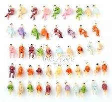 Lot Of 50 New Model Train Seated Painted Figures 1:100 Scale HO US Seller