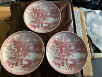"Set Of 3 Spode  Blue Room Collection Christmas No. 1 Red Plate 8 1/4"" Dia. Tree"