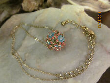 Vintage Gold Tone Pink and Blue Enamel Cut Out Flower Ball Pendant  Necklace
