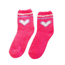 Women Girls Winter Bed heart Socks Solid Fluffy Warm Soft Thick Home MZ