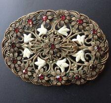 vintage art deco red rhinestone glass cream enamel daisy flower brooch c pin 912