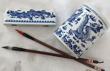 JAPANESE L BLUE DRAGON WHITE POT CHINESE WRITING PAINTING STAND REST 2 BRUSH A14
