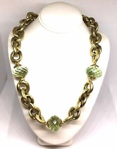 Steve VAUBEL Gold Vermil Faceted Green Stone Toggle Necklace