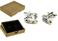 Scooter Cufflinks Two tone  MOD. Fathers Day, Birthday Mens Gift + Box BE074