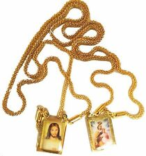 Scapular Our Lady Mount Carmel  Chain Necklace Jesus 24K GOLD filled Jewelry