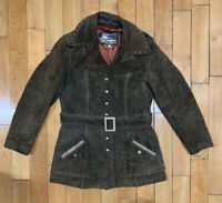 THE TANNERY Montgomery Ward Vintage Brown Suede Leather Jacket Long Coat Womens
