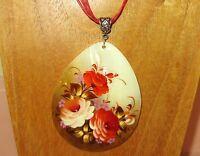 Pendant Zhostovo RED ORANGE WHITE BIG FLOWERS Russian Hand Painted Shell