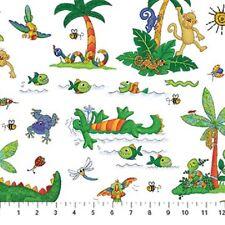 I Spy Amazon Cotton Quilt fabric by Northcott Monkey Alligator Bugs Birds White