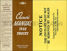 1940 Chevy Pickup and Truck Owners Manual with Envelope 40 Chevrolet Owner Guide