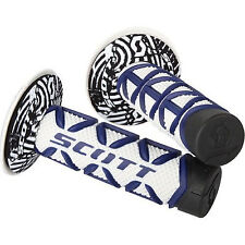 Scott Diamond Blue White Handlebar Grips Fits Yamaha Yz Wr TTr Dirt Bikes