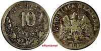Mexico SECOND REPUBLIC 1880/70 10 Centavos OVERDATE KEY DATE VERY RARE KM# 403.5
