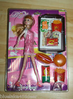"Fast Food Waitress Doll 11"" Blond Hair Pink Dress with Fries Burger Hot Dog"