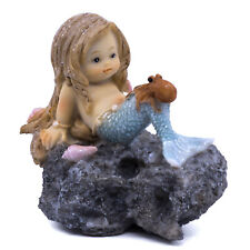 """Little Mermaid With Baby Octopus On Rock Figurine 3"""" Long New!"""