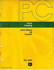John Deere 59 3 Point Hitch Forklift Parts Manual Jd